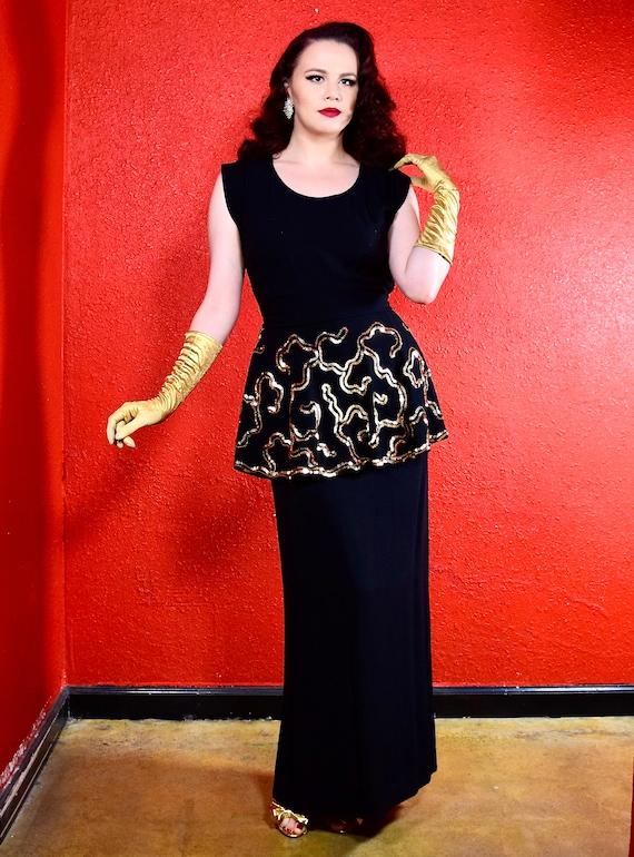 1940s Black Crepe Gown Sequin Peplum