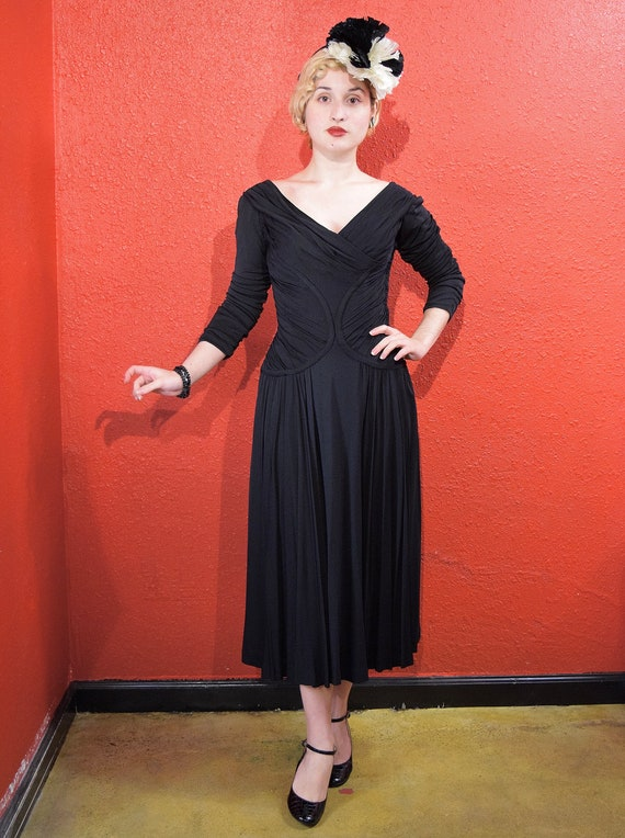 1950s Ceil Chapman Designer Jersey Draped Dress
