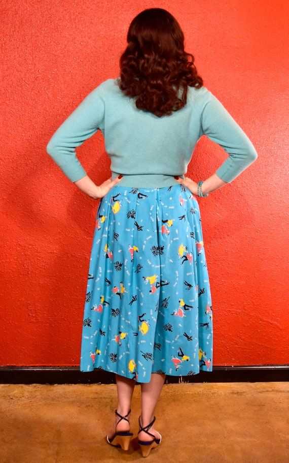 1950s Rock and Roll Novelty Print Skirt - image 3