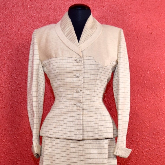 1950s Lilli Ann Suit Ivory Imported Fabric - image 3