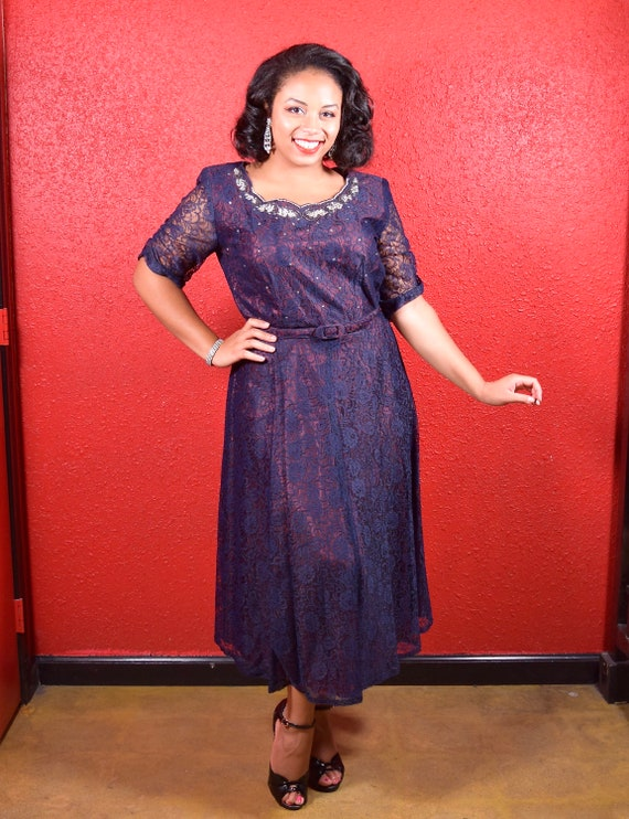 1950s XL Navy Lace Dress with Beaded Detail Large