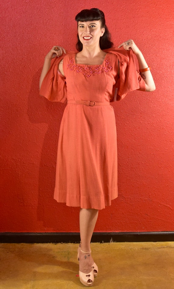 1940s Dress and Bolero Large Coral Dyed Pearls - image 8