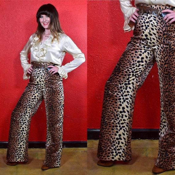 1960s 70s Leopard Print Wide Leg Pants - image 1