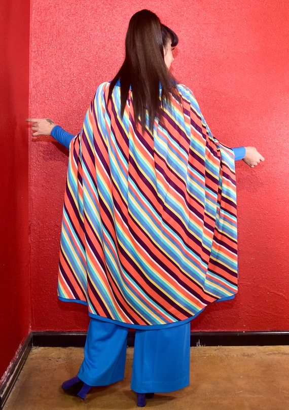 1970s Jumpsuit Multi Design Cape Peplum Hair Tie Belt Rainbow Stripe