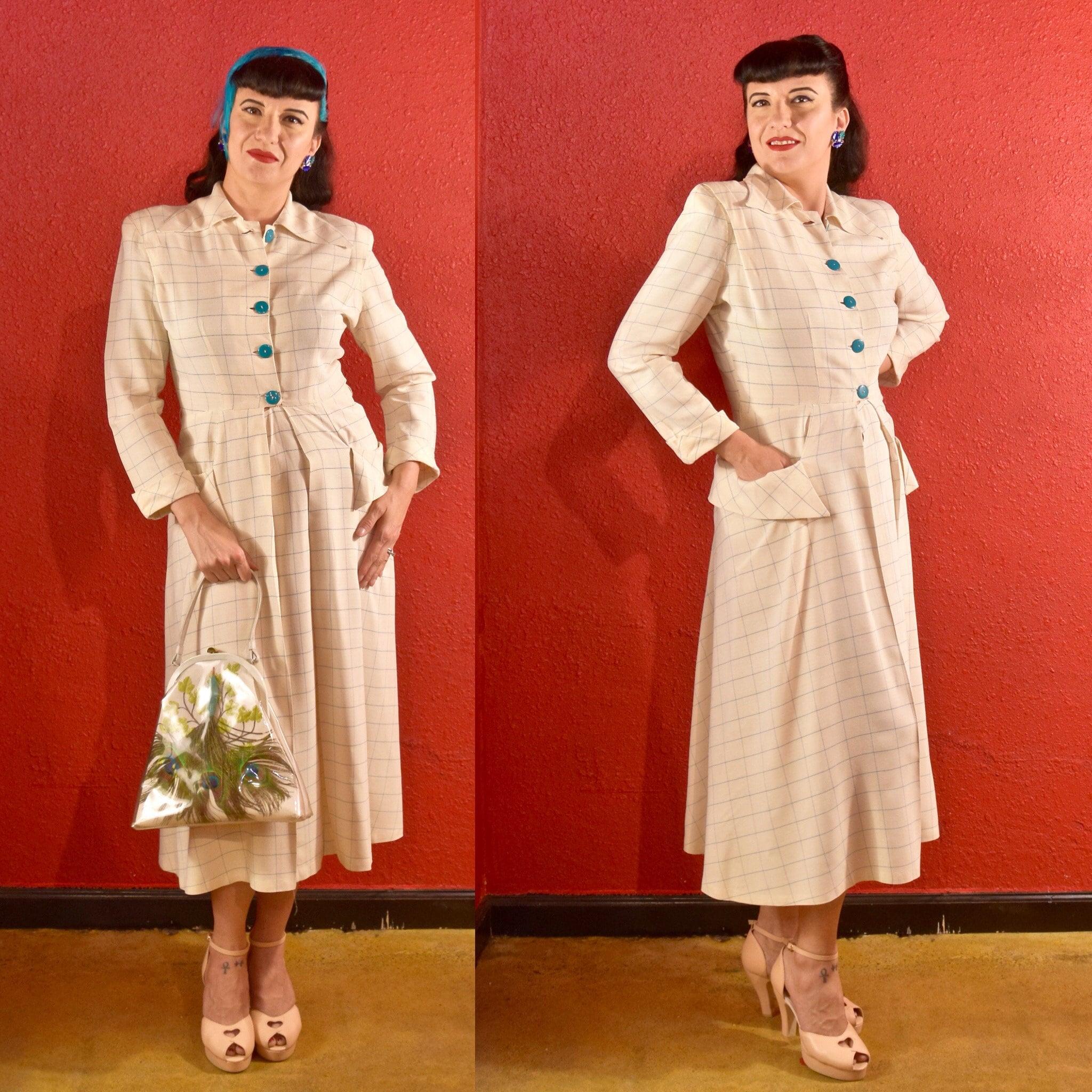 1940s Handbags and Purses History 1940S Shirtwaist Dress White Plaid With Aqua  Pockets $250.00 AT vintagedancer.com