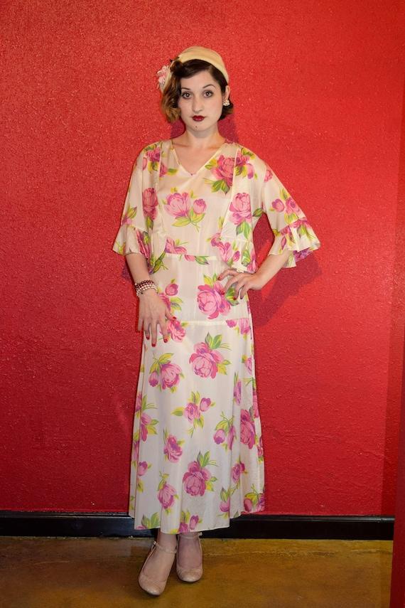 1920s 30s Rose Print Rayon Dress with Bolero - image 2