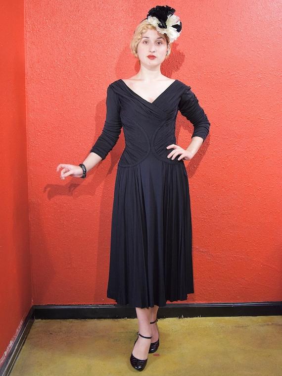 1950s Ceil Chapman Designer Jersey Draped Dress - image 3