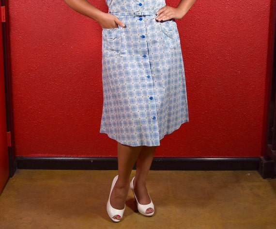 1950s Cotton Plaid  Large Shirtwaist with Belt - image 7
