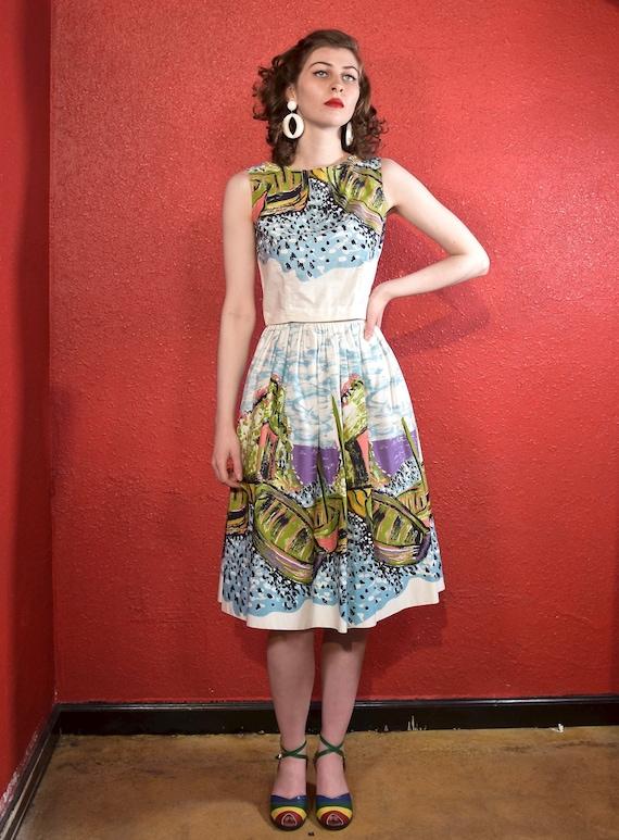 1950s XS Novelty Print Dress Two Piece