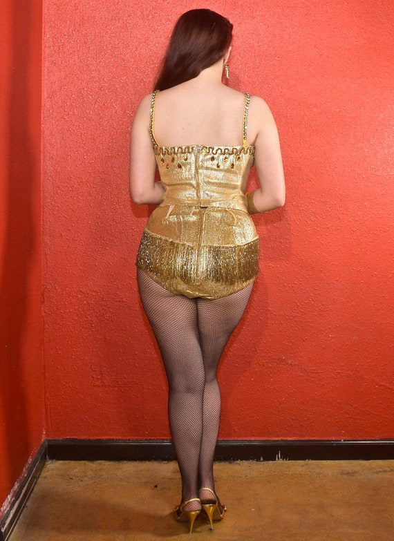 1950s Gold Lurex Showgirl Burlesque Swimsuit Cost… - image 2