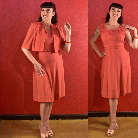1940s Dress and Bolero Large Coral Dyed Pearls
