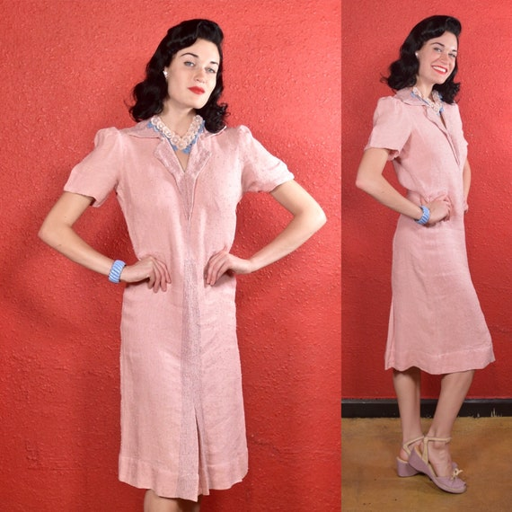 1930s Pink Dress Nubby Cotton