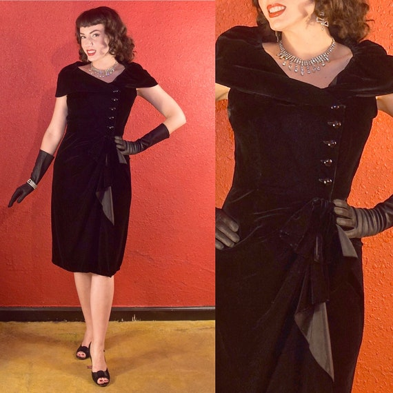 1950s Suzy Perette Dress Black Velvet Draped Sheat