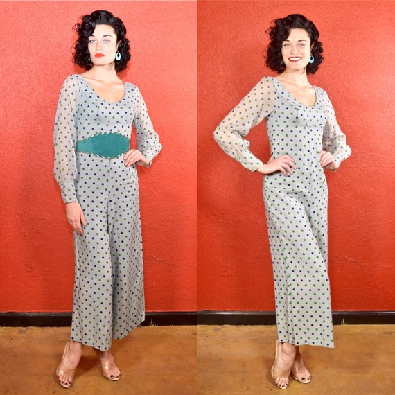 1950s 60s Polka Dot Jumpsuit Rayon and Silk XS Dea