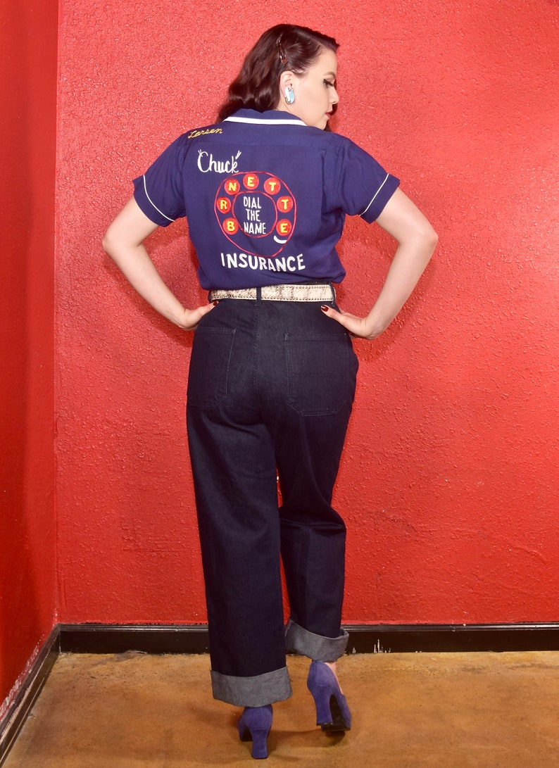 1950s Embroidered Bowling Shirt Rare Phone Dial
