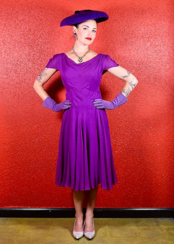 Stunning 1950s Purple Silk Chiffon Dress Medium - image 10
