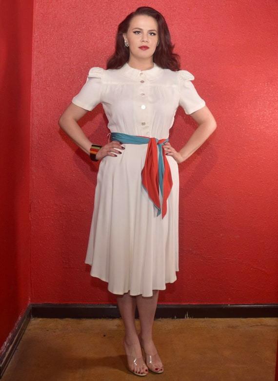 1940s Rayon Dress White with Color Block Tie Joan… - image 3