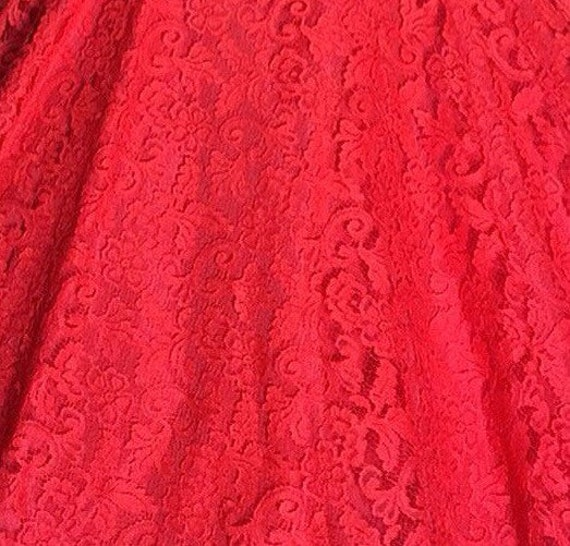 1950s Red Lace Dress Large with Bolero and Circle… - image 5
