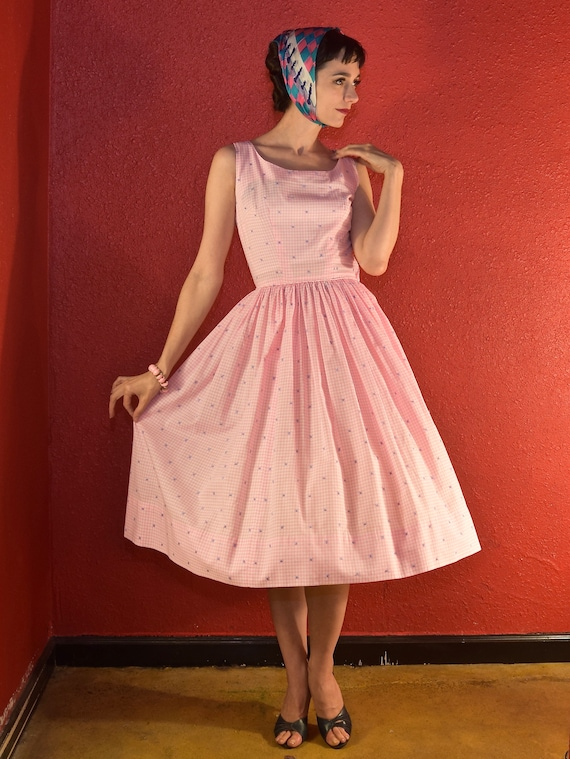 1950s Pink Gingham Dress Cotton Fit & Flare
