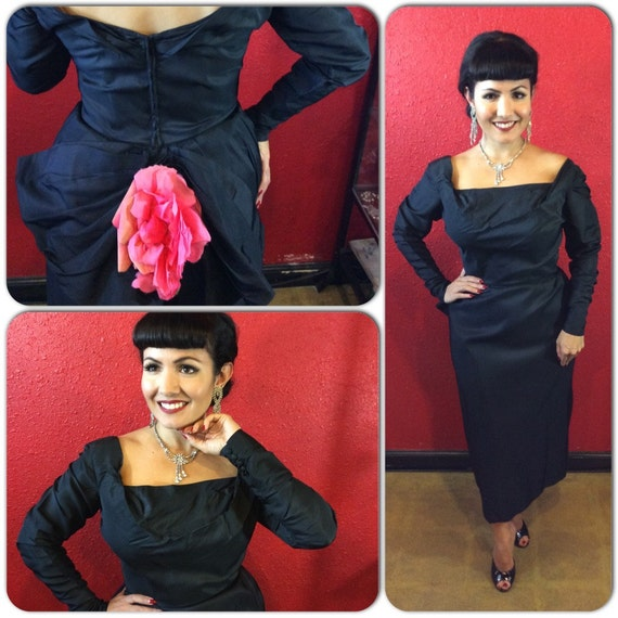 1940s 50s Ceil Chapman Black Draped Fitted Cockta… - image 2