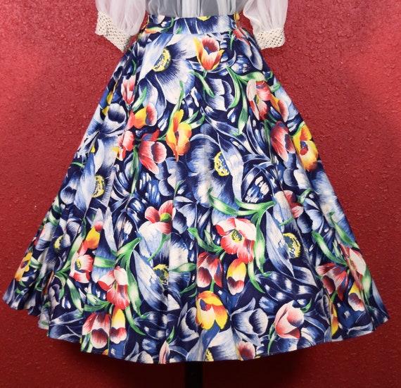 1950s Tulip Print Cotton Full Skirt