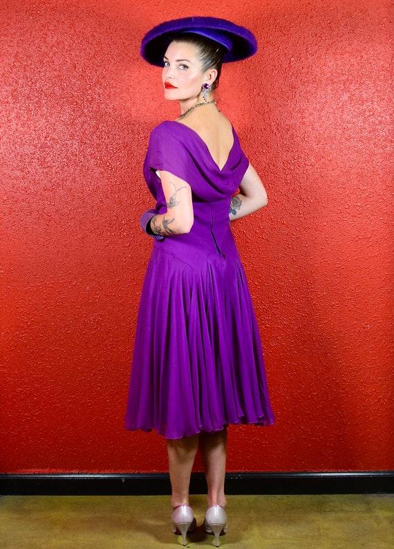 Stunning 1950s Purple Silk Chiffon Dress Medium - image 3