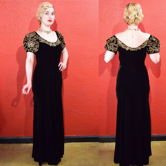 1930s Black Velvet Gold Soutache Beaded Gown