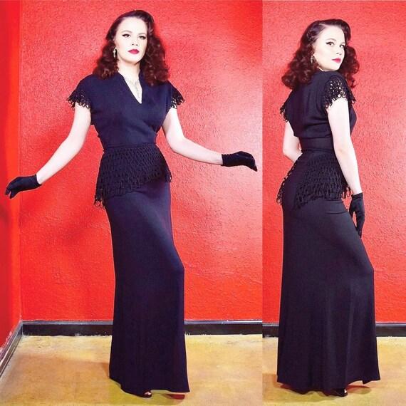 1940s Black Crepe Gown Crochet Sleeve and Peplum