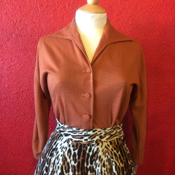 50s Rust Knit Blouse Sweater Girl Styling