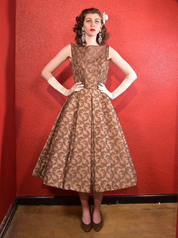1950s Mocha Fit and Flare XS Dress