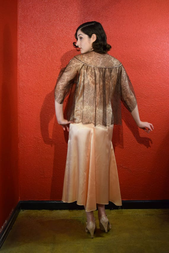 1950s Lucie Ann Lace Lingerie Bed Jacket Loungewe… - image 5