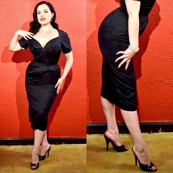 1950s Estevez Black LBD Silk Faille Designer Dress