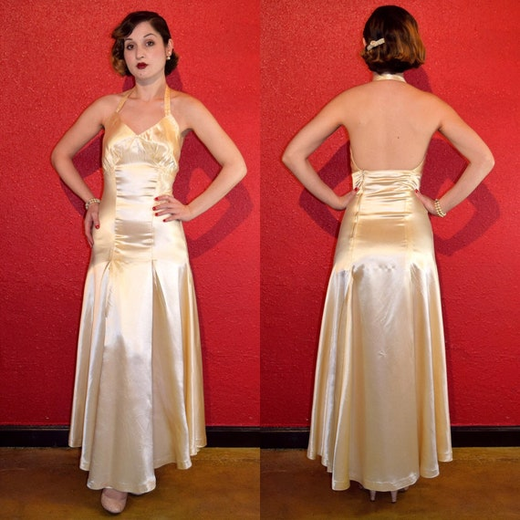 1930s Ivory Satin Gown Halterneck Low Back XS