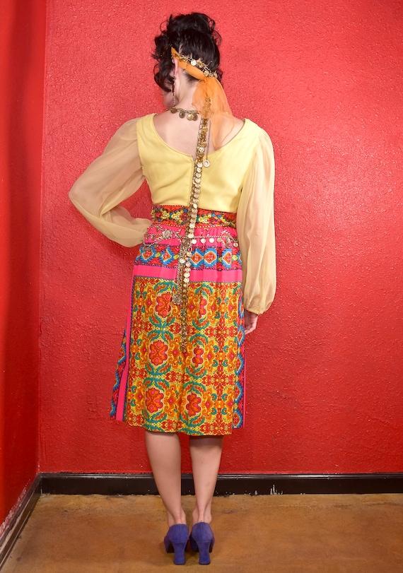 1960s Gypsy Dress Paisley Print Bells Bishop Slee… - image 4