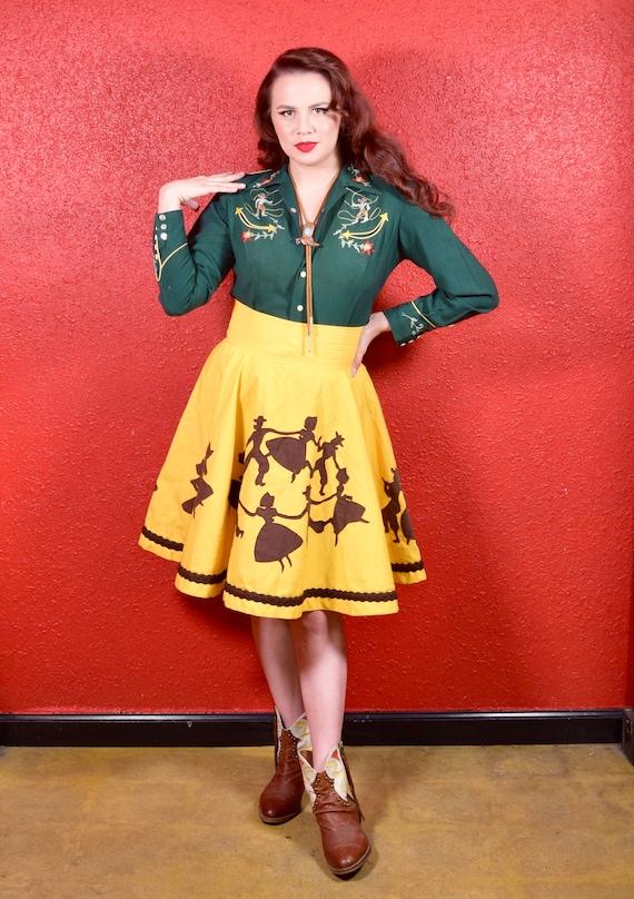 1950s 50s Style Western Novelty Print Circle Skirt - image 3