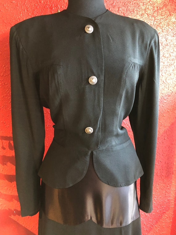 1930s 40s Black Crepe Skirt Suit Olga Original - image 8
