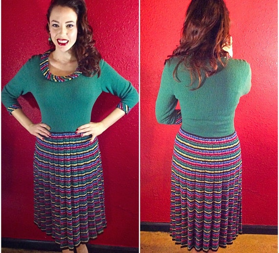 1940s 50s Green Knit Dress Stripe Metallic Ribbed