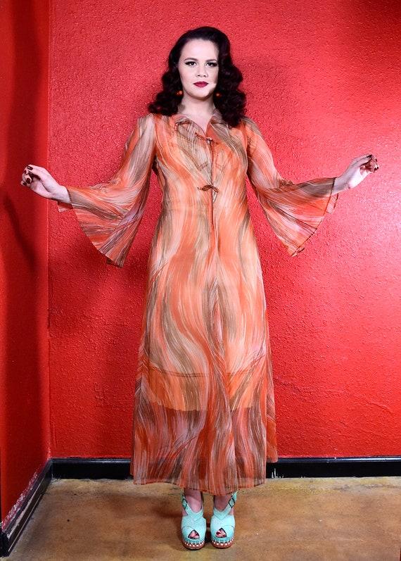 1960s Nylon Swirl Sheer Caftan