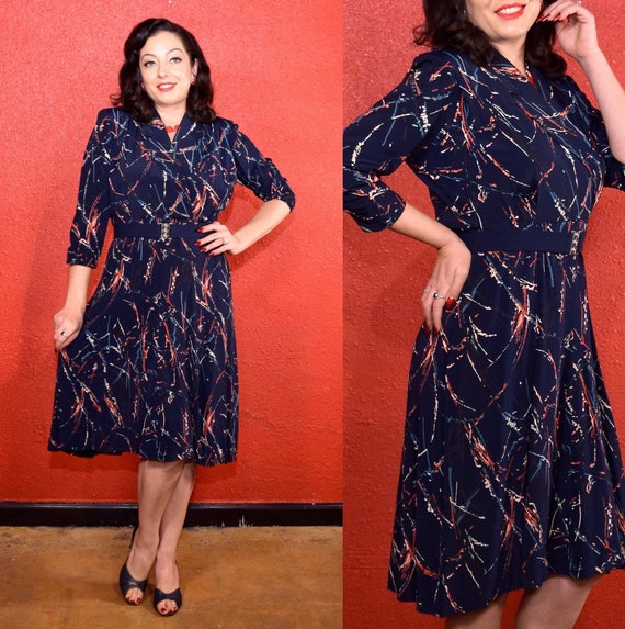 1940s Abstract Print Dress Large