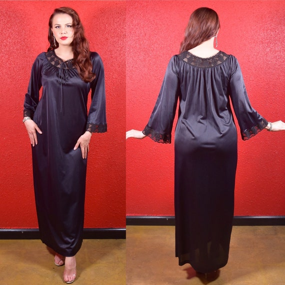 1960s 70s Black Lace Trimmed Lounge Gown Bell Slee