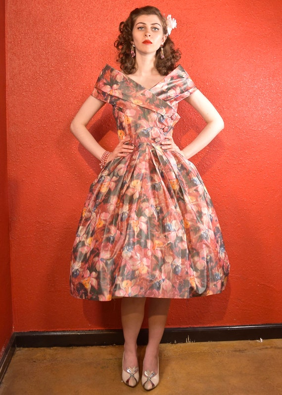 1950s Suzy Perette Designer Fit and Flare Dress - image 1