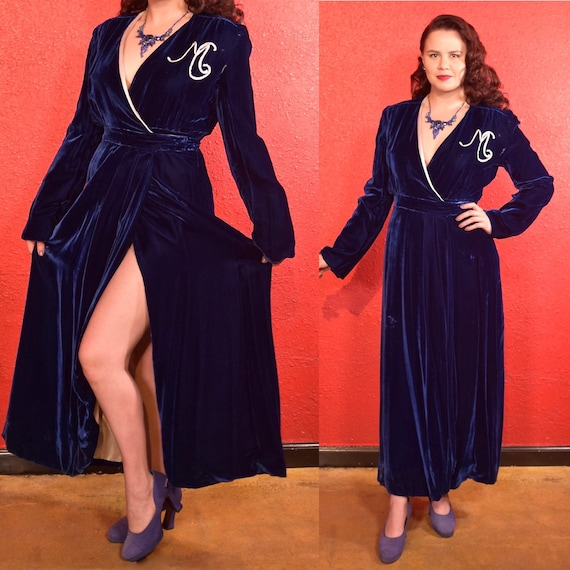 1930s Silk Velvet Lounge Dress Royal Blue Robe M