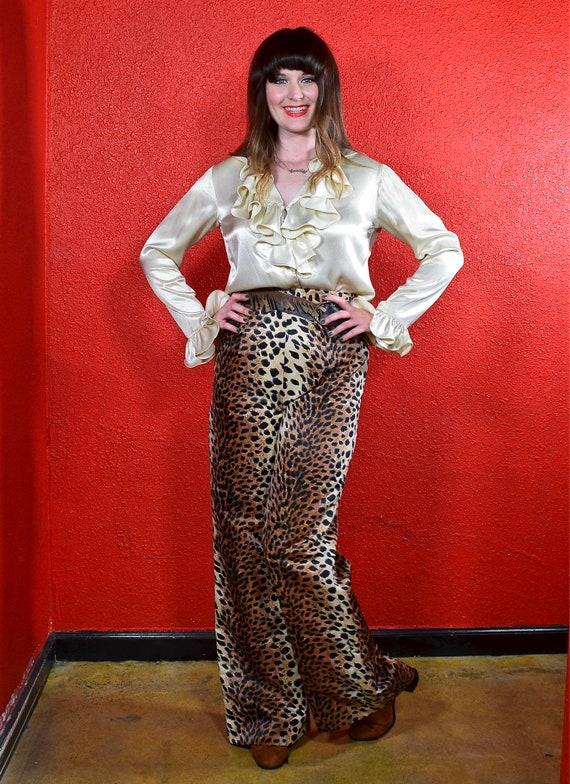 1960s 70s Leopard Print Wide Leg Pants - image 6