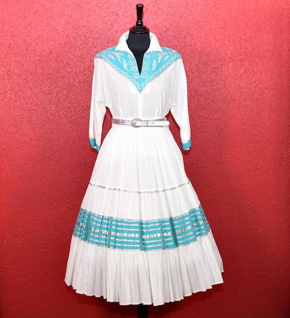 1950s Patio Dress Faye Creations Aqua & White