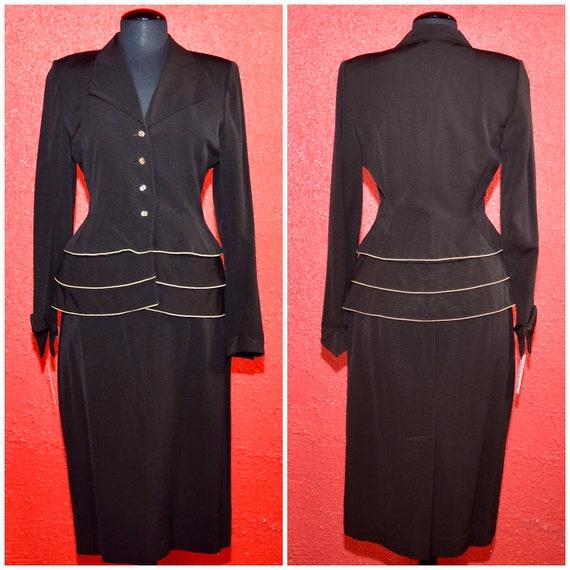 1950s Lilli Ann Suit Designer Vintage Peplum Jacke