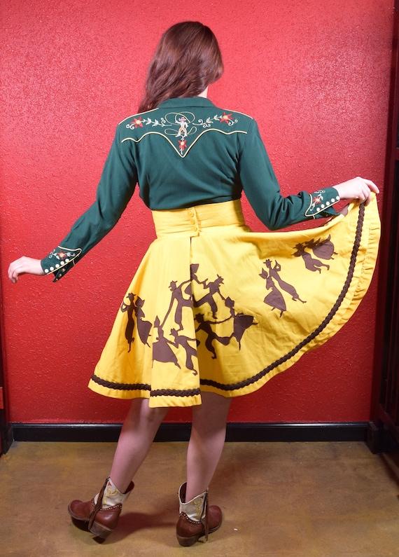 1950s 50s Style Western Novelty Print Circle Skirt - image 5