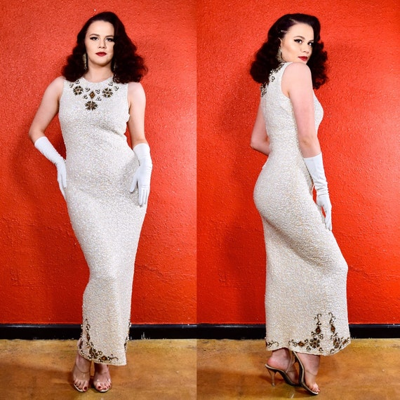 1950s 60s Ivory & Gold Sequin Gown Gene Shelly