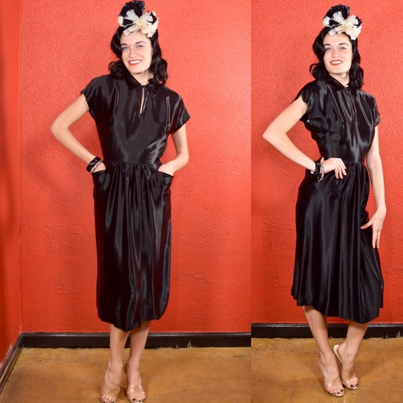 1930s 40s Black Liquid Satin Dress