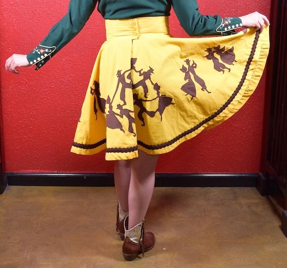 1950s 50s Style Western Novelty Print Circle Skirt - image 4