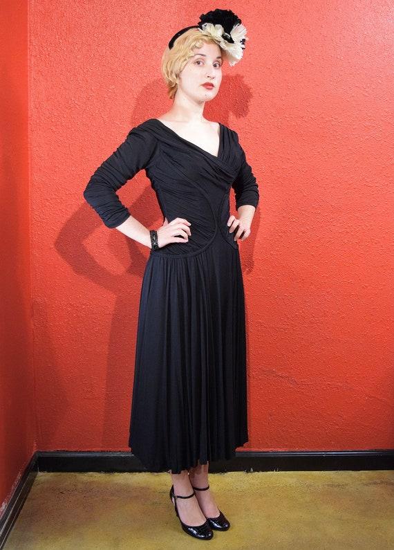 1950s Ceil Chapman Designer Jersey Draped Dress - image 6